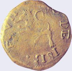 Pieza mpg0.25r-aa01 (Anverso). Moneda de la Provincia de Guayana. 1/4 Real. Diseño A, Tipo A. Fecha 1813