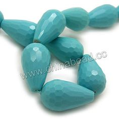 Gemstone Beads, Imit. Blue Turquoise, Faceted rounded teardrop, Approx 15x25mm, Hole: Approx 1.2mm, 16pcs per strand, Sold by strands