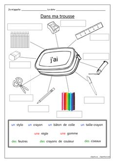 A gap-fill worksheet for practicing the names of 9 pencil case items in French. - Французька мова - Welcome Home French Language Lessons, French Language Learning, French Lessons, French Tips, French Flashcards, French Worksheets, Kids Worksheets, French Verbs, French Grammar