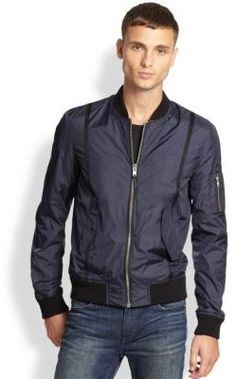 $395, Nylon Bomber Jacket by BLK DNM. Sold by Saks Fifth Avenue. Click for more info: http://lookastic.com/men/shop_items/177742/redirect