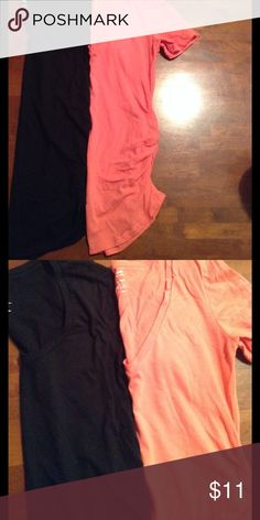 Bundle of Relaxed Fit Maternity Tees 2 relaxed fit Old Navy maternity tees with ruched sides. Black tee is a scoop neck and coral tee is a V neck. Old Navy Tops Tees - Short Sleeve
