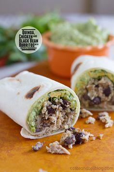 Chicken, Quinoa and Black Bean Burritos with Chipotle Guacamole ...