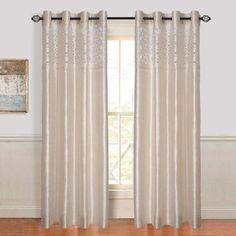 Lavish Home Karla Laser-Cut Grommet Curtain Panel Beige - 63-108T847-B