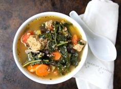 Kale, Quinoa and Black Bean Soup with Italian Sausage