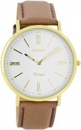 Oozoo Ultra Slim Vintage Uhr C7708 - rosagrau/gold - 40 mm - Lederband