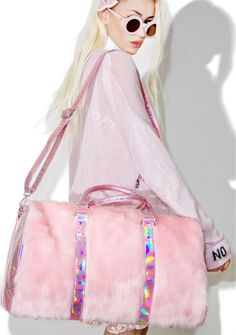Sugar Thrillz Shagadelic Weekender iz all set for a shaggin' good time. This superr pretty weekender bag features an amazing fluffy pink colored faux fur structured shape with hologram sides 'n trim that beautifully reflect rainbow prisms with every mova Pink Duffle Bag, Duffle Bags, Messenger Bags, Girly, Pink Faux Fur, Handbag Organization, Boston Bag, Lace Bodysuit, Large Bags