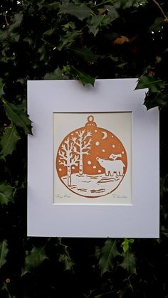 This is a an original metallic or red Christmas scene Lino cut print entitled Polar Moon. Each print has been hand drawn and transferred to lino block and then carefully carved out. It is printed using caligo safe wash water based ink and printed onto s Christmas Scenes, Christmas Art, Christmas Projects, Handmade Christmas, Christmas Ideas, Christmas Ornaments, Winter Szenen, Polar Bear Christmas, Linoprint