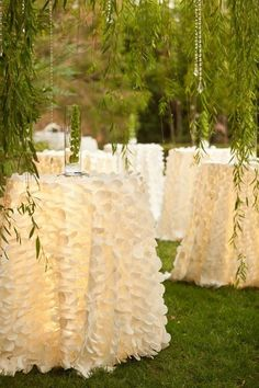 LOVE these high-boy linens and need them for my venue!  Floor length linens on cocktail tables with uplighting under...love it.