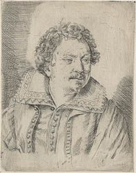 Ottavio Leoni  (Il Padovano)(Rome, 1578-1630) ~ Tommaso Salini ~ Engraving ~ ca.1618 ~ One of five prints of the painter Tommaso (known as Mao) Salini (1575-1625), in which Leoni was perhaps testing ways of drawing a portrait with an engraving tool. They may be Leoni's earliest engravings. Salini was witness in the 1603 lawsuit brought by his friend and mentor Giovanni Baglione against Caravaggio. Salini's style was heavily influenced by Caravaggio.