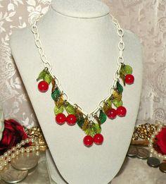 vintage bakelite cherry necklace.