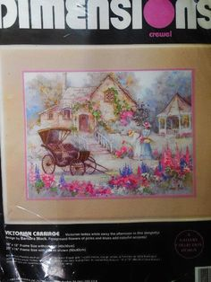 Vintage 1993 Dimensions Victorian Carriage Embroidery Kit Crewel 16 X 12 for sale online Crewel Embroidery Kits, Frame Sizes, Victorian, Vintage, Ebay, Primitive