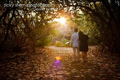 Romantic engagement photo of couple under tree canopy around sunset.  www.miamiphotogra...