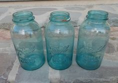 Vintage Blue Mason Ball Jars Set of 3 Half Gallon by Tremendous Treasures