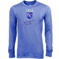 Majestic Threads Kansas City Royals Cooperstown Collection Home Plate Tri-Blend Long Sleeve T-Shirt - Royal Blue - $29.44