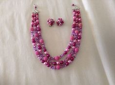 Vintage Pink 3 Strand Necklace Earring Set 1950s by MartiniMermaid, $28.89