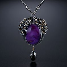 Sugilite & Apache Gold Stone Centerpiece. Fabricated Sterling Silver and 14k Gold. www.amybuettner.com https://www.facebook.com/pages/Metalsmiths-Amy-Buettner-Tucker-Glasow/101876779907812?ref=hl https://www.etsy.com/people/amybuettner http://instagram.com/amybuettnertuckerglasow