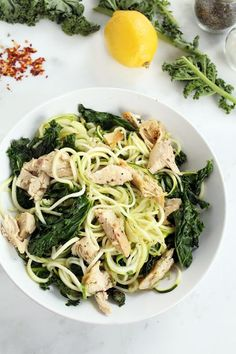Tone It Up - Recipe Profile - Baked Chicken and Kale Lemon Zucchini Pasta