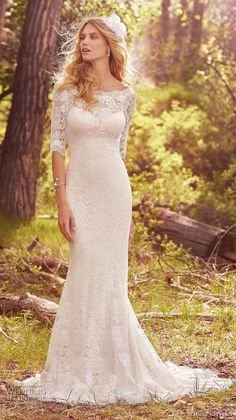 maggie sottero spring 2017 bridal half sleeves bateau neckline full embellishment elegant sheath fit and flare wedding dress lace back chapel train (mckenzie) mv