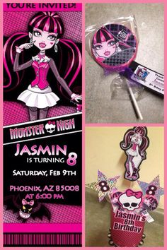 Monster High Invitation, Centerpiece and Lollipop