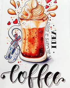 Coffee is always a good idea Copic Marker Art, Copic Art, Sketch Markers, Food Drawing, Painting & Drawing, Watercolor Illustration, Watercolor Art, Copic Drawings, Christmas Illustration