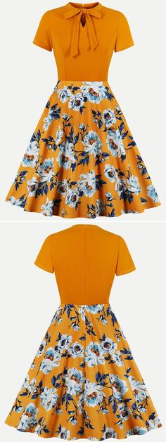 Orange Floral Print Swing DressYou can find Floral prints and more on our Orange Floral Print Swing Dress Girls Frock Design, Kids Frocks Design, Gowns For Girls, Frocks For Girls, Frock Design For Wedding, Modest Outfits, Simple Outfits, Shirt Dress Tutorials, Easy Clothing