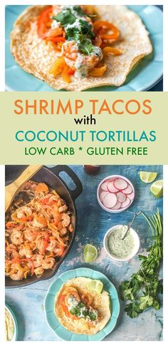 These low carb shrimp tacos taste wonderful with gluten free coconut tortillas or without anything at all. The southwestern flavors of lime, cumin and garlic go perfectly with the cilantro lime mayo topping.  #lowcarb #shrimp #shrimptacos #gltuenfree #lowcarbtortillas #seafood