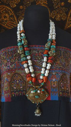 Necklace | Helena Nelson-Reed (Morning Dove Studio). Freshwater pearls, coral, turquoise and assorted metals