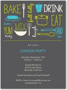 Party Invitations Popular Potluck - Front : Charcoal