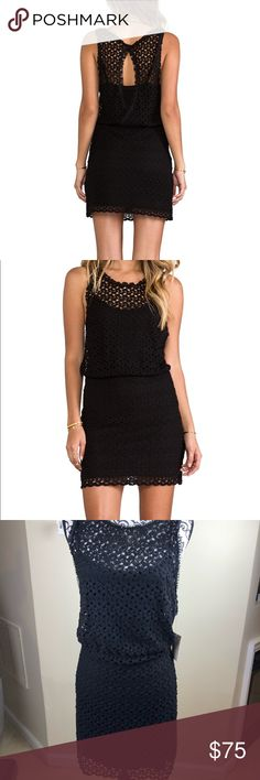 "NWT Free people surplice back mini dress Size medium.  NWT. crochet dress with attached slip. Back is open with slip showing. The blouson styling is trendy and flattering. Measures 17"" across bust, 15"" at waist, 17"" at hips. Length is 36"". Free People Dresses Mini"