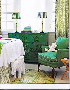 Chest of drawers-idea for my old secretary desk.  Love this green.