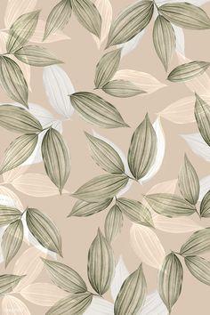 Download free image of Vintage beige tropical leafy background 1200105