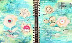 art-journal pages created by Tusia Lech featuring Verano Azul collection