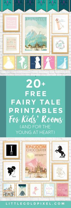 20 Free Fairy Tale Printables for Kids Rooms (and for adults who are young at heart!) In which I curate 20 Free Fairy Tale Printables for Kids' Rooms — showcasing art that whimsical, princess and Disney lovers of all ages will adore.