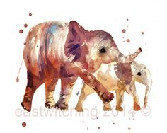 ELEPHANT watercolor print by eastwitching on Etsy