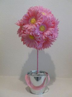 Spring Summer Pink Daisy Flower Topiary