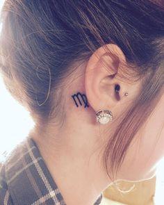 Small Virgo Back Ear Tattoo
