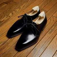 Bespoke / 2 Eyelets Derby shoes For Mr.Y.H. Thank you so much!  #yoheifukuda #bespokeshoes #black #leather #derby #style #thankyou #gentleman #mens #fashion #photo #tokyo #japan