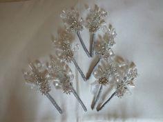 Boutonniere in silver with diamante snowflake by DuckBarnFlorals