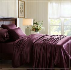 Find grape silk bed linen from hypoallergenic Mulberry silk ! The grape color will naturally fit into any room.