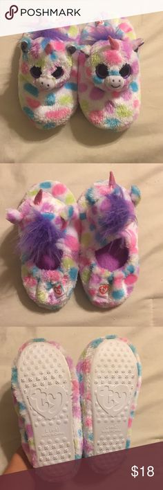 """TY """"Wishful"""" Unicorn 🦄 Slippers Adorable unicorn Slippers by Ty! Only worn once! Excellent condition!! Ty Shoes Slippers"""