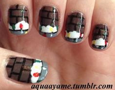 Snowy Christmas Roof Nail Art