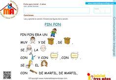 Canciones – Comunicación integral 3 años Spanish, Samsung Galaxy Wallpaper, Science For Children, Initials, Note Cards, Preschool, Learning, Spanish Language, Spain