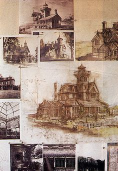 Design pinboard used in creating the house in the movie Practical Magic.
