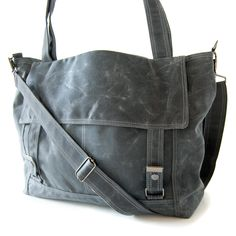 Waxed Canvas Letter Bag - Gray and Teal. $191.00, via Etsy.