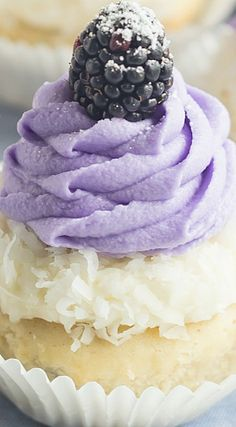 Blackberry Coconut Cupcakes