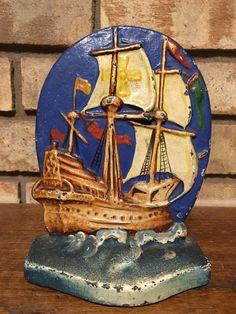 Large Full Mast Galleon Ship Cast Iron Doorstop Door stop Wedge Pirate  12 X 10