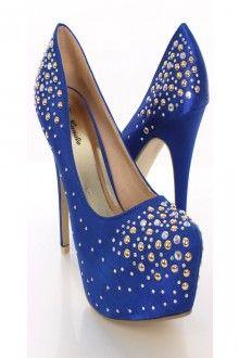 Blue Satin Rhinestone Studded Heels