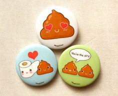 Cute Toilet Paper and Poop 1.75 Pinback Button by BeagleCakesArt