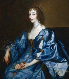 anthony van dyck - portrait of queen henrietta maria. 17th century portrait painting. 17th century fashion costume and jewelry