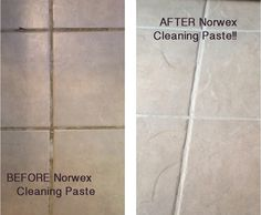 Before & After - Norwex Cleaning Paste on grout! Courtesy Norwex Independent Sales Consultant: www.jennarancourt.norwex.biz
